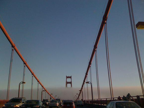 SF, CA: Fog belt on the Golden Gate Bridge.